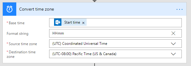 Convert UTC event time to local time and format hours and minutes