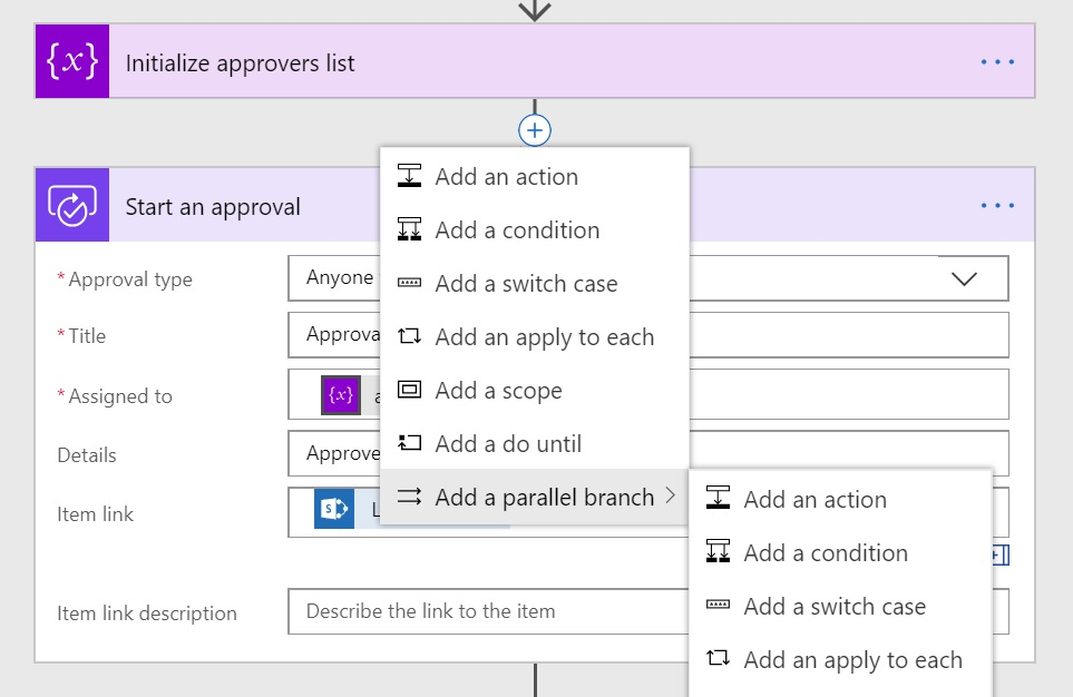 Adding parallel branch before approval