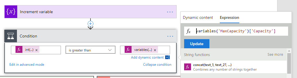 Compare item against stored variable