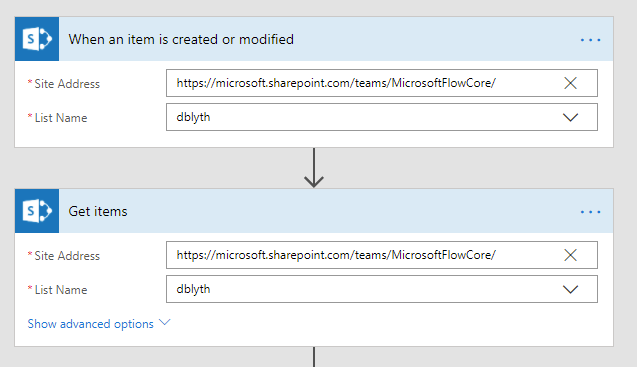 SharePoint trigger and action