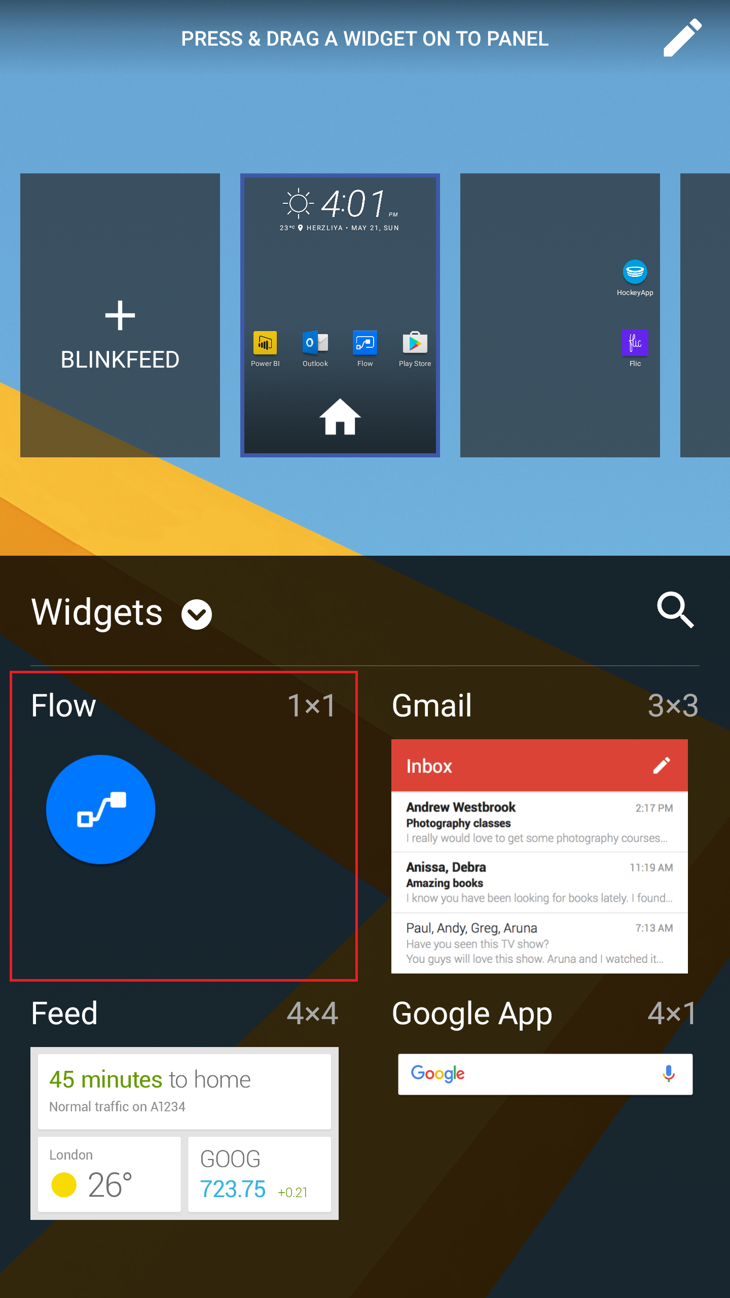 Android widget menu
