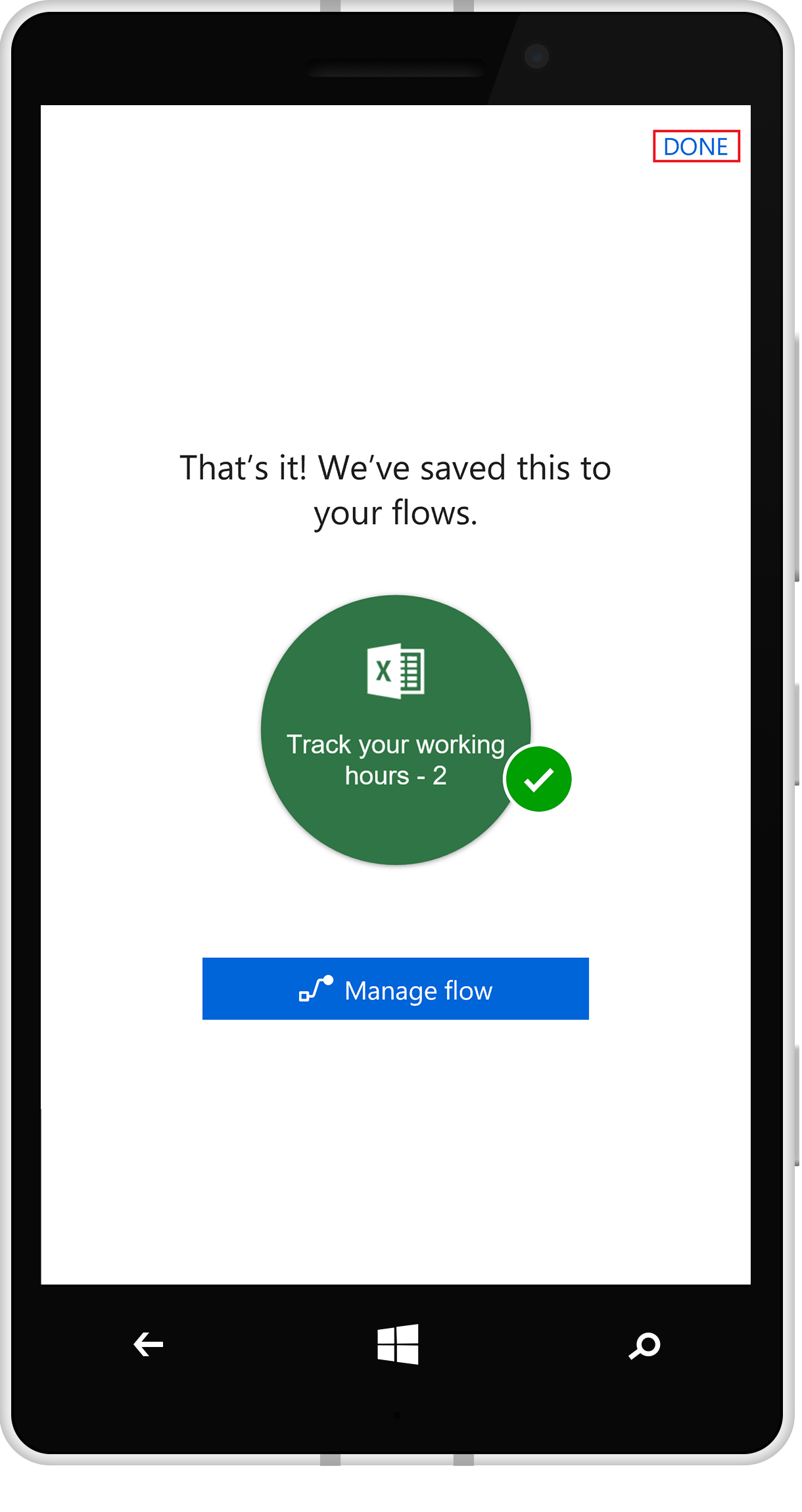 Flow creation success page