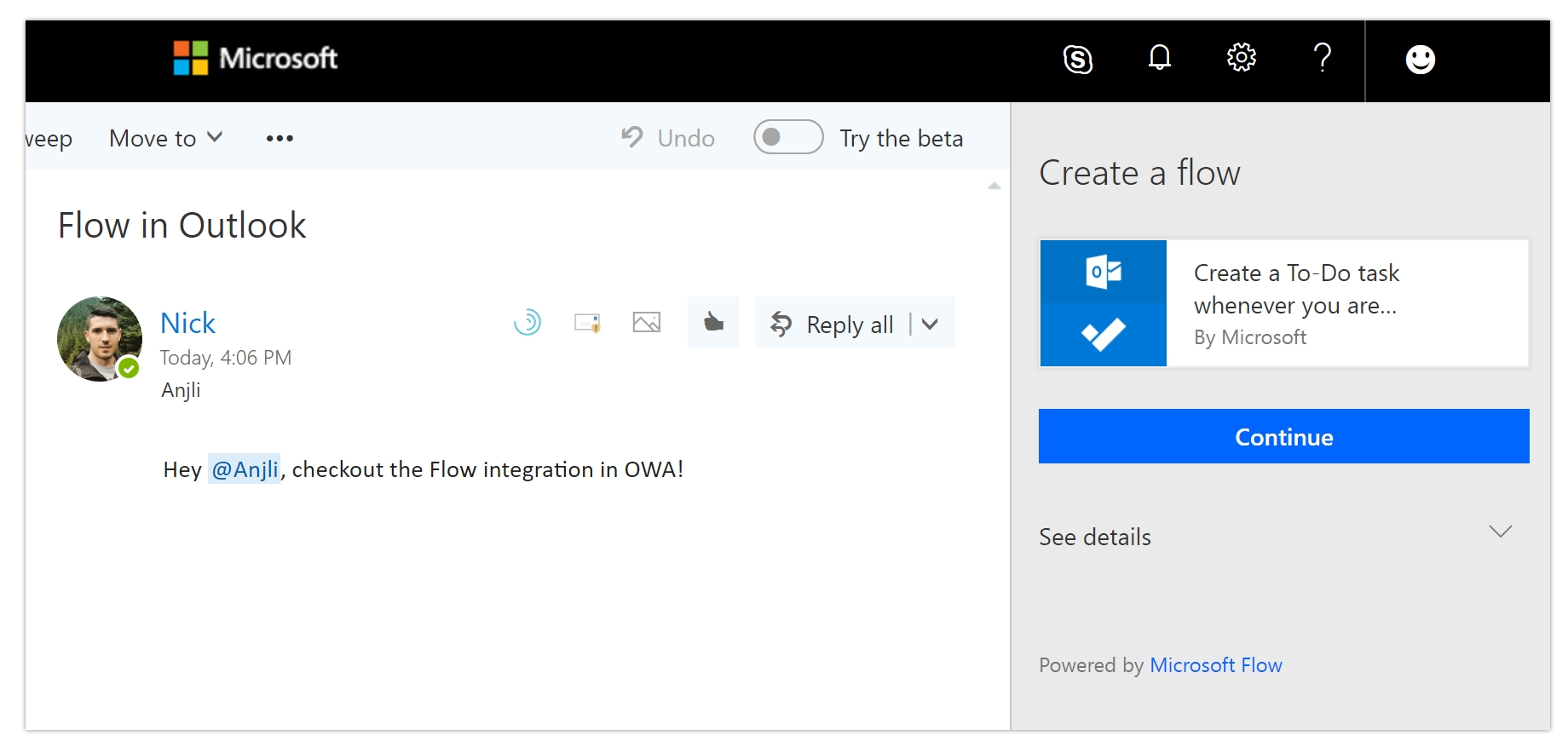 Flow Is Available In Excel And The Outlook Web App Introducing