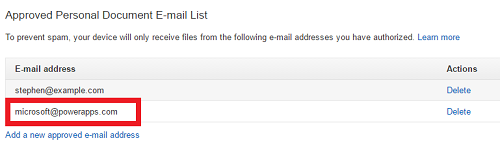 Approved Personal Document E-mail List