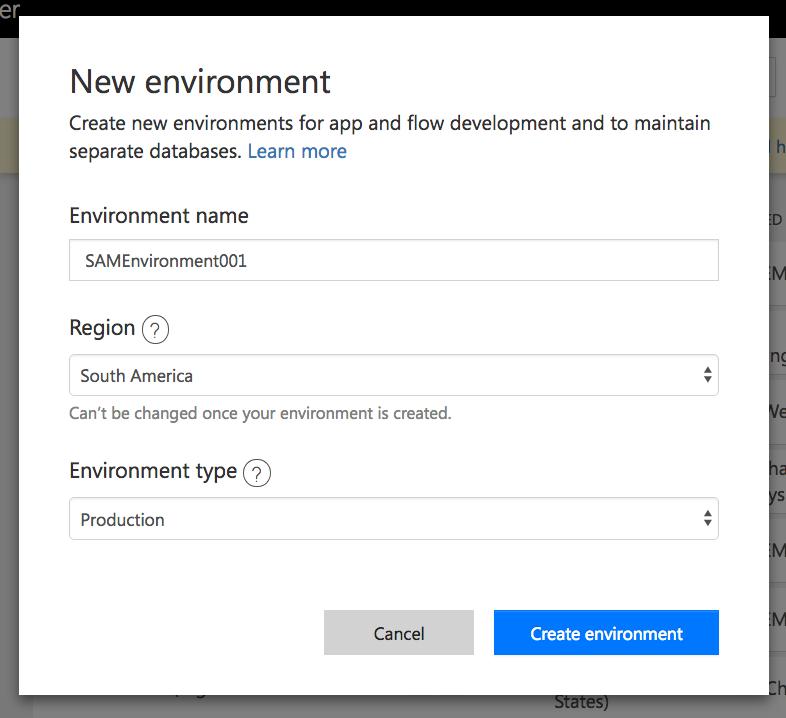 New environment dialog