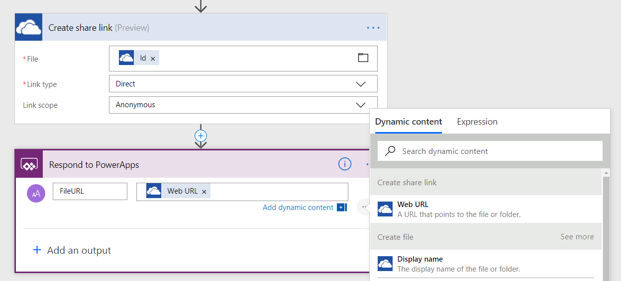 Walkthrough: Use Flow in PowerApps to upload files or return data